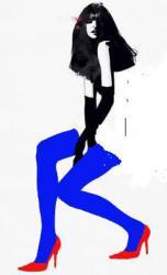 девушка в синих чулках