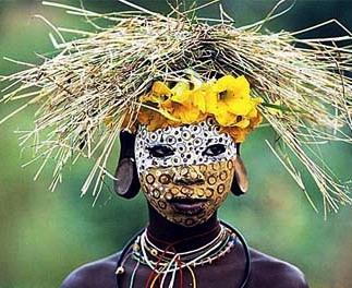 Раскраска лица в африканском племени