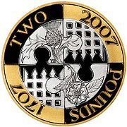 Реверс монеты 2 фунта 2007 года в честь 300-летия принятия Акта об Унии