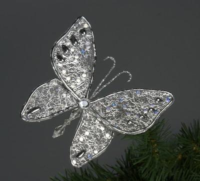 Новогоднее украшение серебряное.