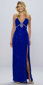 Длинное синее с серебром вечернее платье